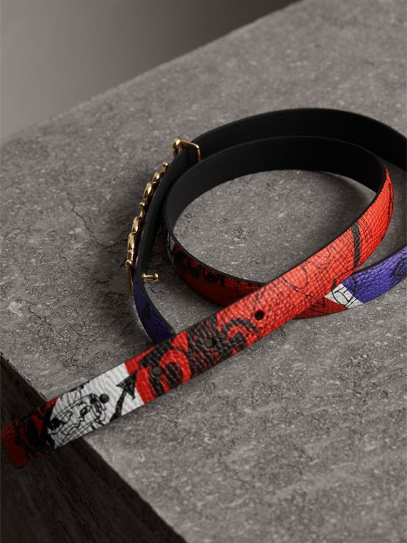Doodle Detail Reversible Leather Belt in Red/blue - Women | Burberry - cell image 3