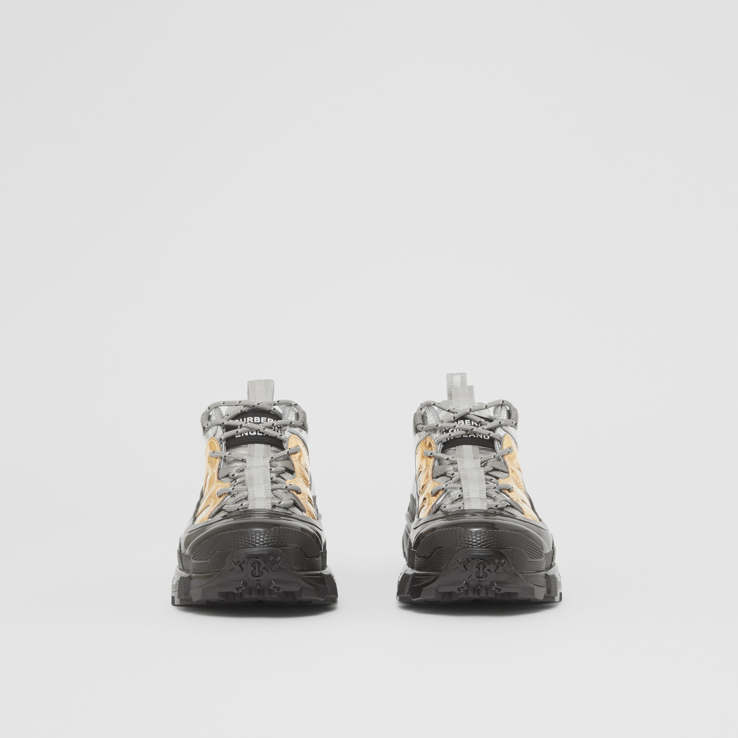 Two-tone Metallic Leather Arthur Sneakers in Silver/gold - Women | Burberry - 4