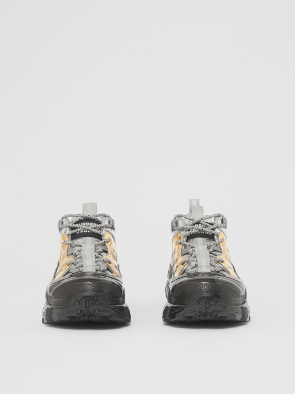 Two-tone Metallic Leather Arthur Sneakers in Silver/gold - Women | Burberry - cell image 3