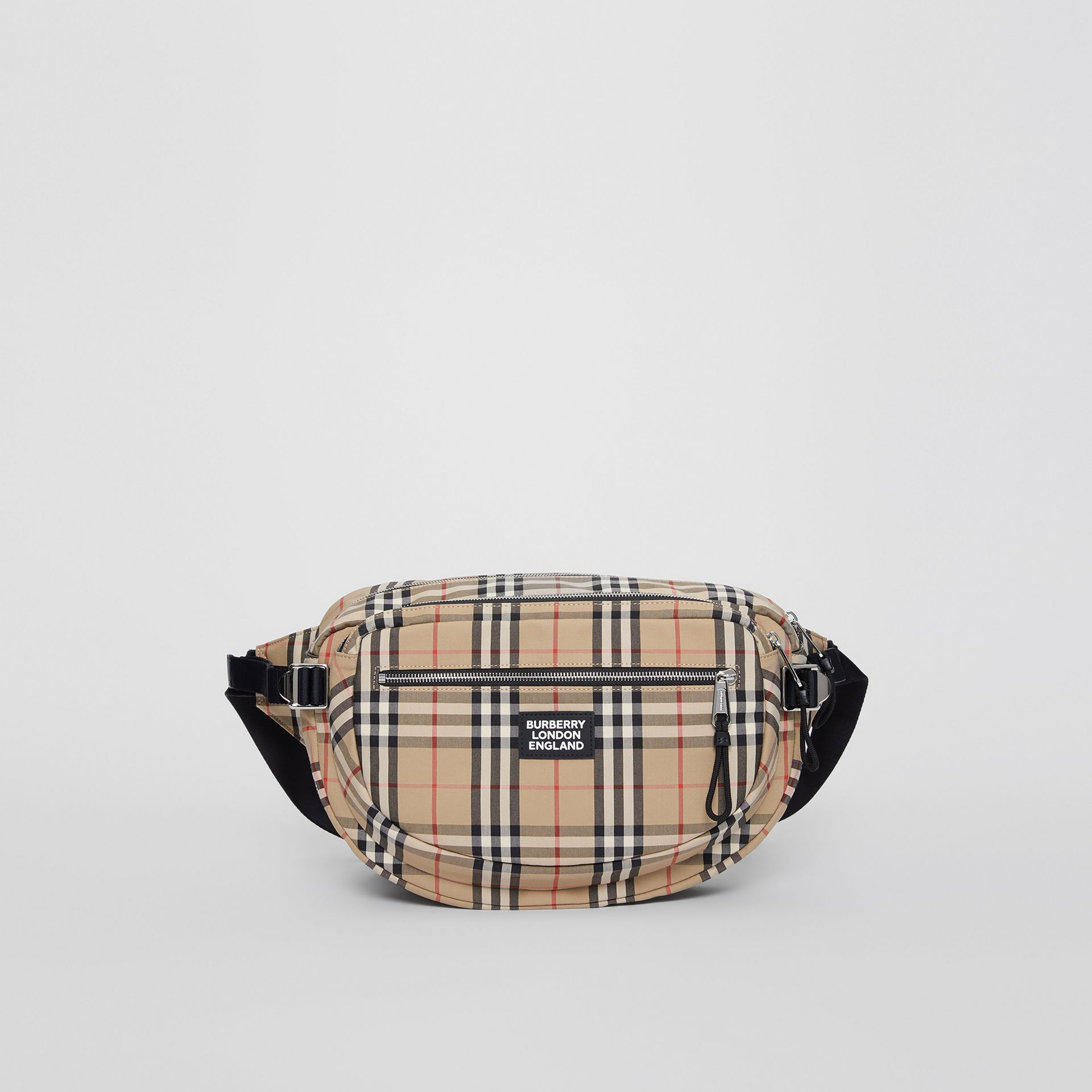 Large Vintage Check Cotton Cannon Bum Bag in Archive Beige | Burberry - gallery image 0