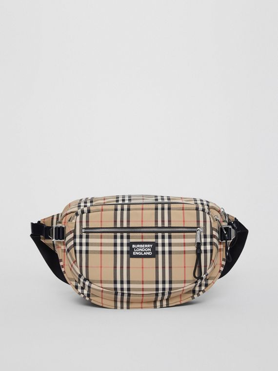 Large Vintage Check Cotton Cannon Bum Bag in Archive Beige