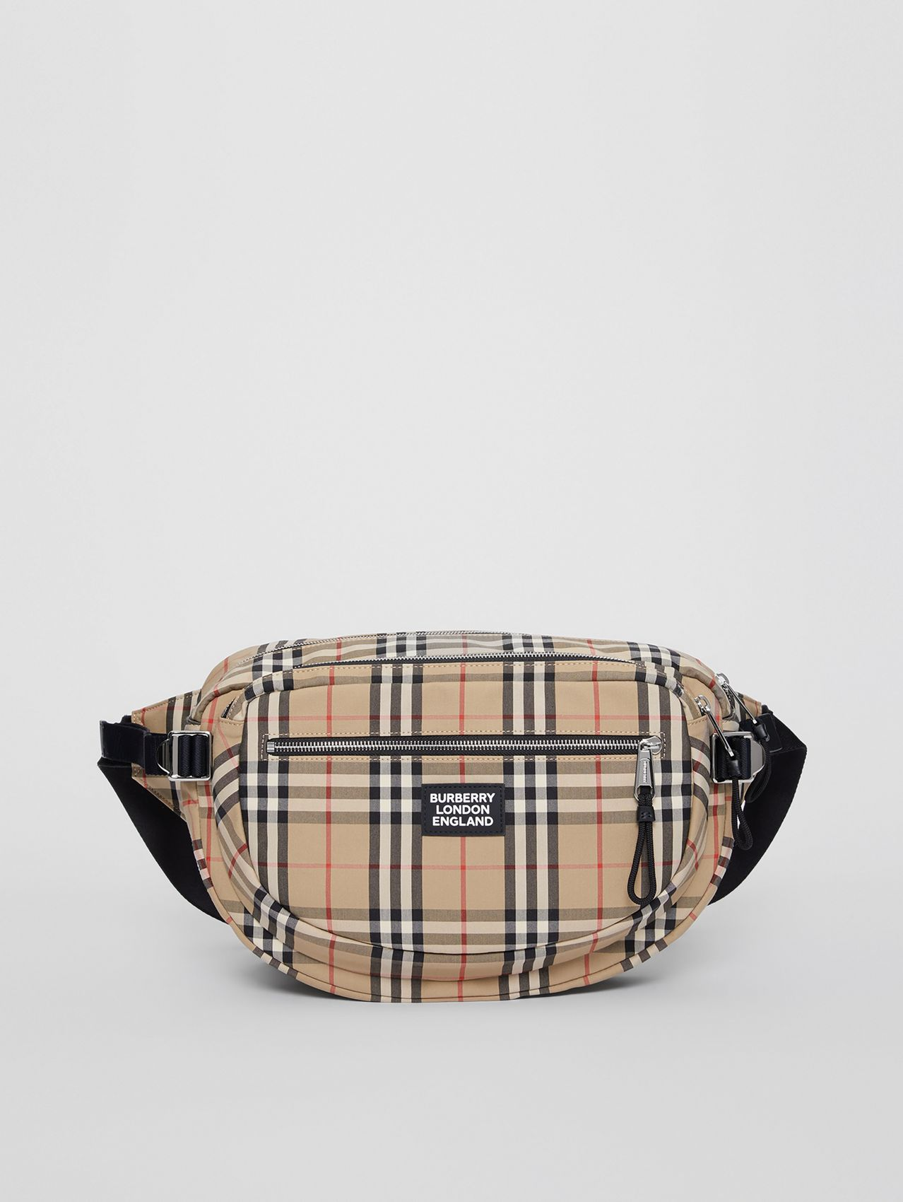 Large Vintage Check Cotton Cannon Bag in Archive Beige