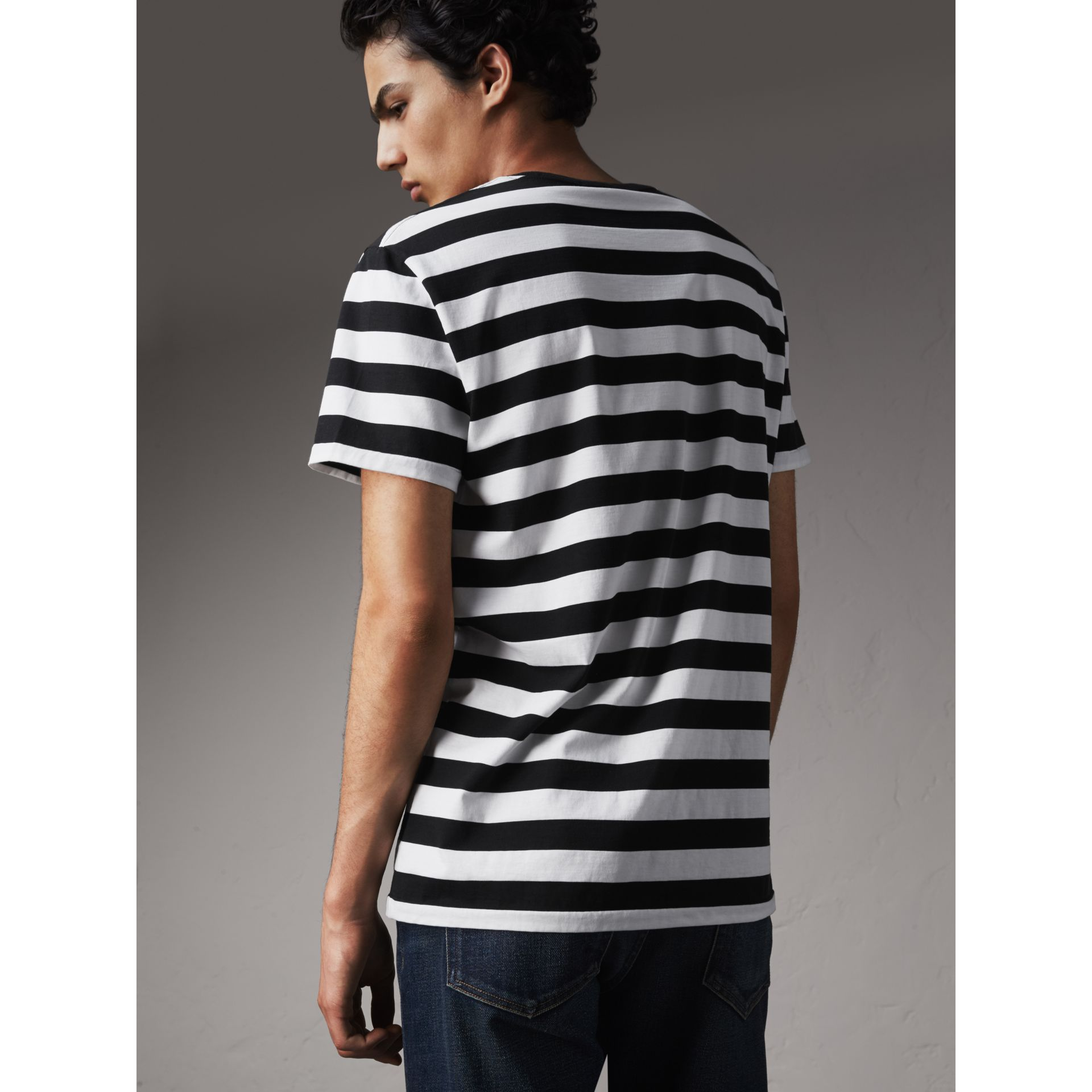 Striped Cotton T-Shirt in Black/white - Men | Burberry Canada - gallery image 2