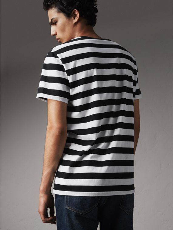 Striped Cotton T-Shirt in Black/white - Men | Burberry - cell image 2