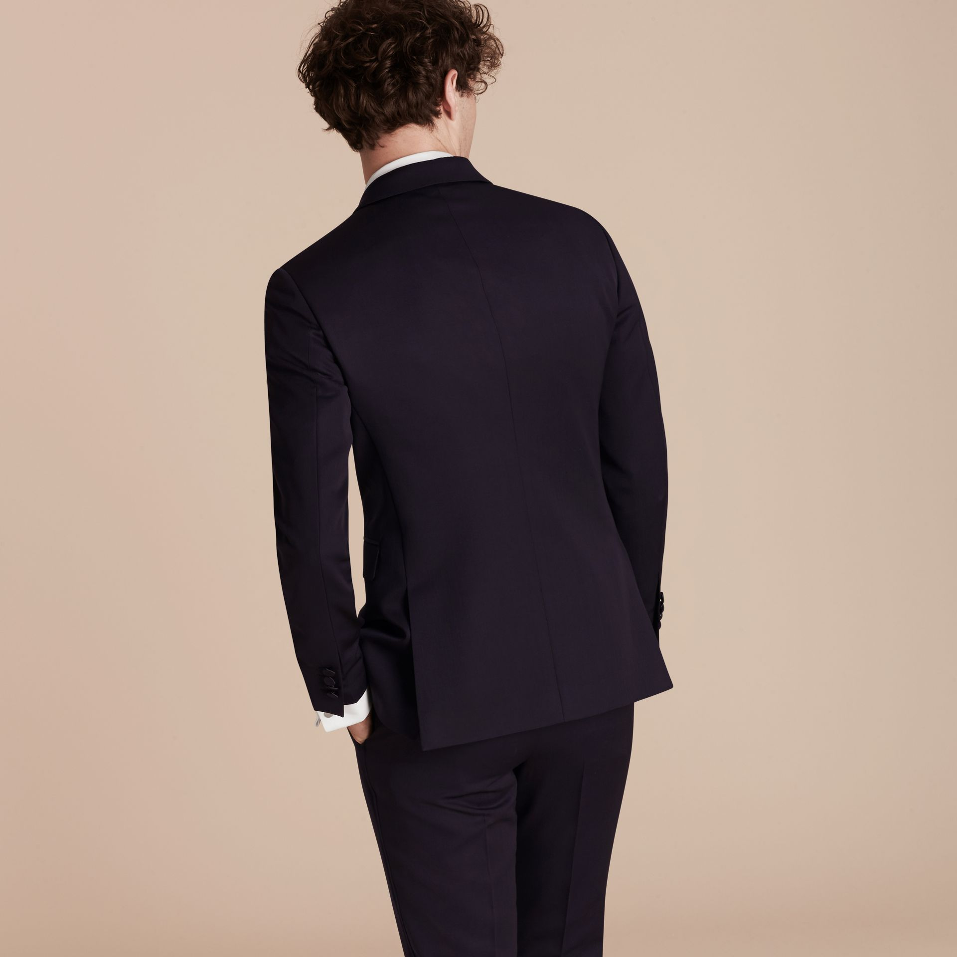 Dark navy Slim Fit Wool Tuxedo Jacket - gallery image 3