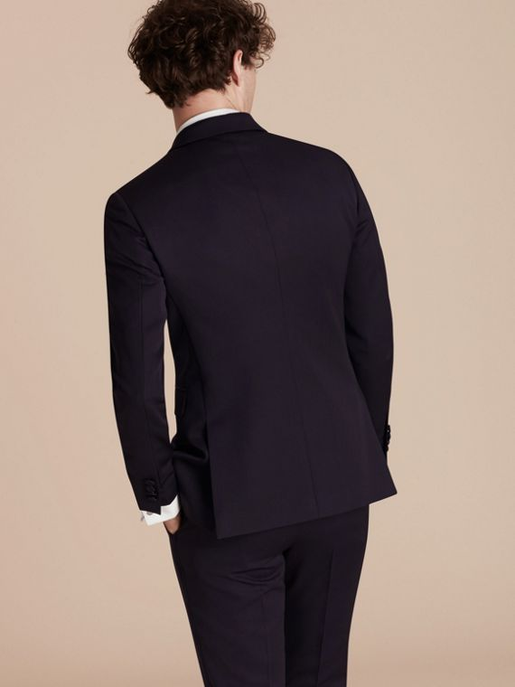 Dark navy Slim Fit Wool Tuxedo Jacket - cell image 2