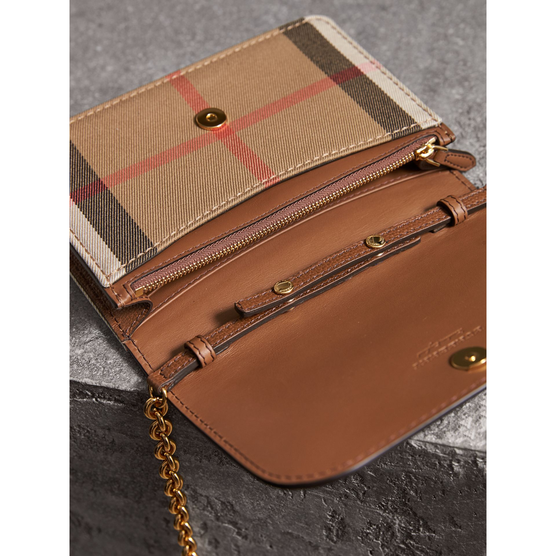 Leather and House Check Wallet with Detachable Strap in Tan - Women | Burberry United States - gallery image 5