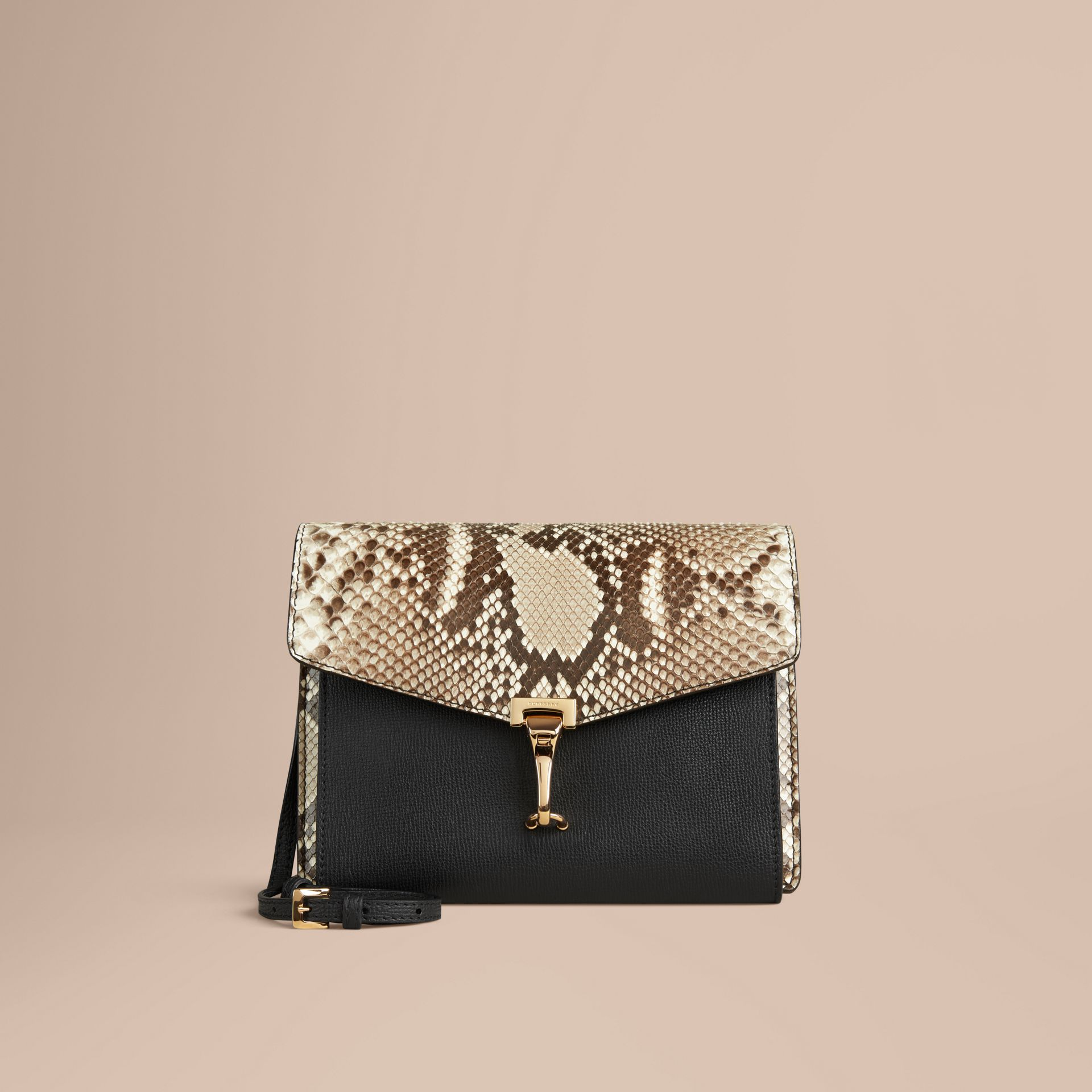 Small Python Crossbody Bag in Natural - Women | Burberry - gallery image 1