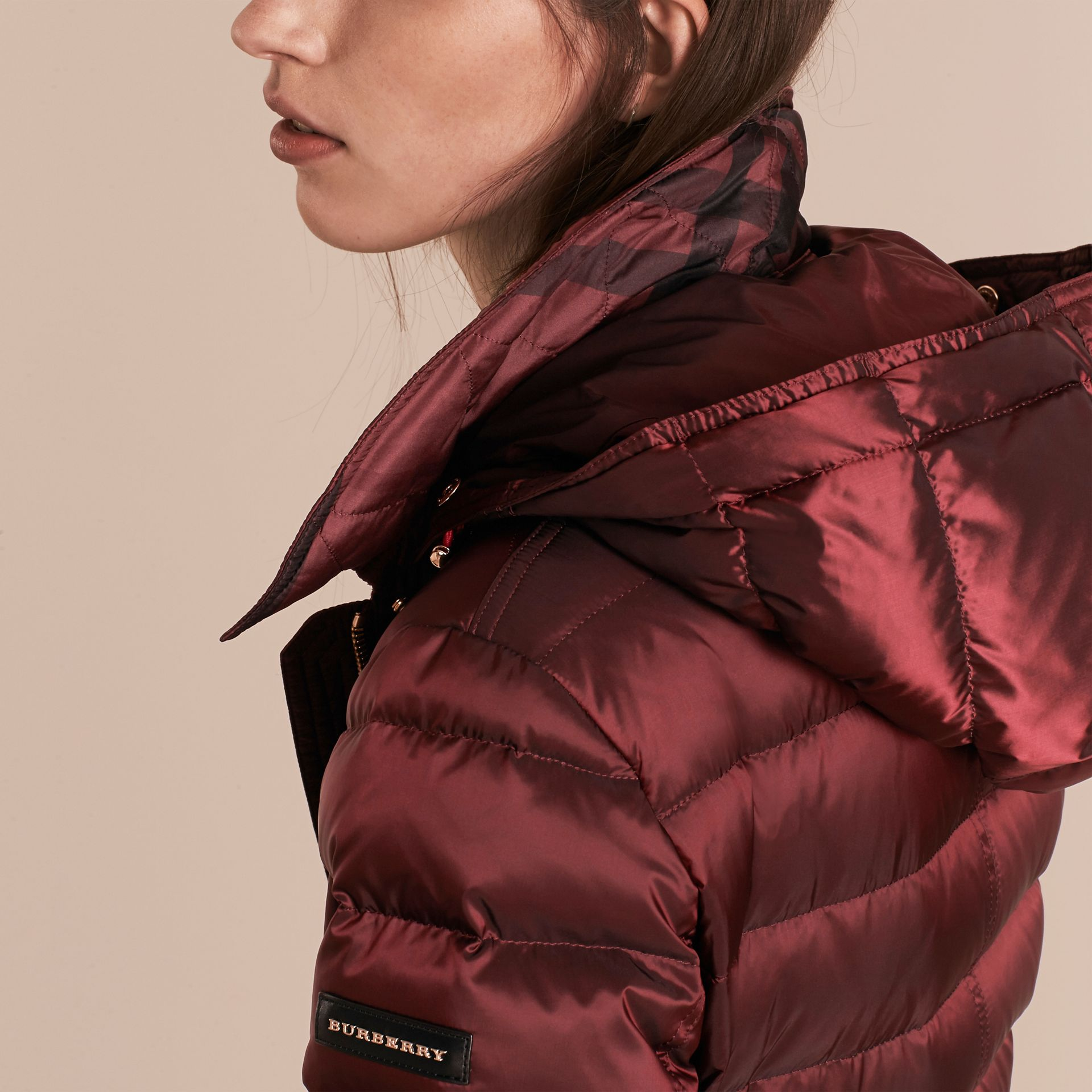 Down-filled Coat with Fox Fur Trim Hood in Burgundy - Women | Burberry - gallery image 6