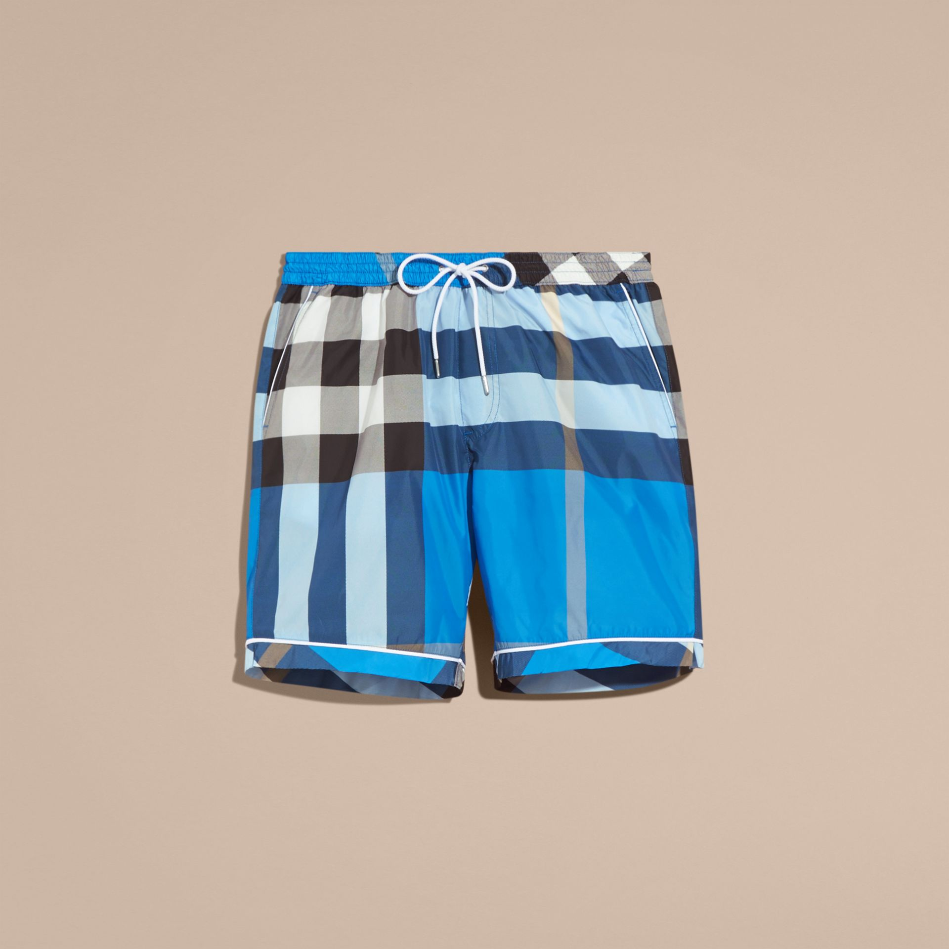 Check Print Swim Shorts with Piping Detail in Cerulean Blue - gallery image 4