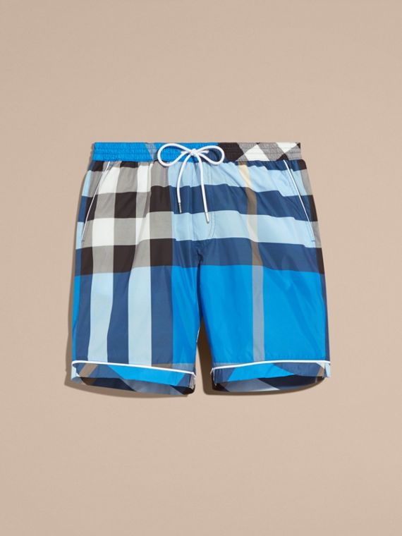Check Print Swim Shorts with Piping Detail in Cerulean Blue - cell image 3