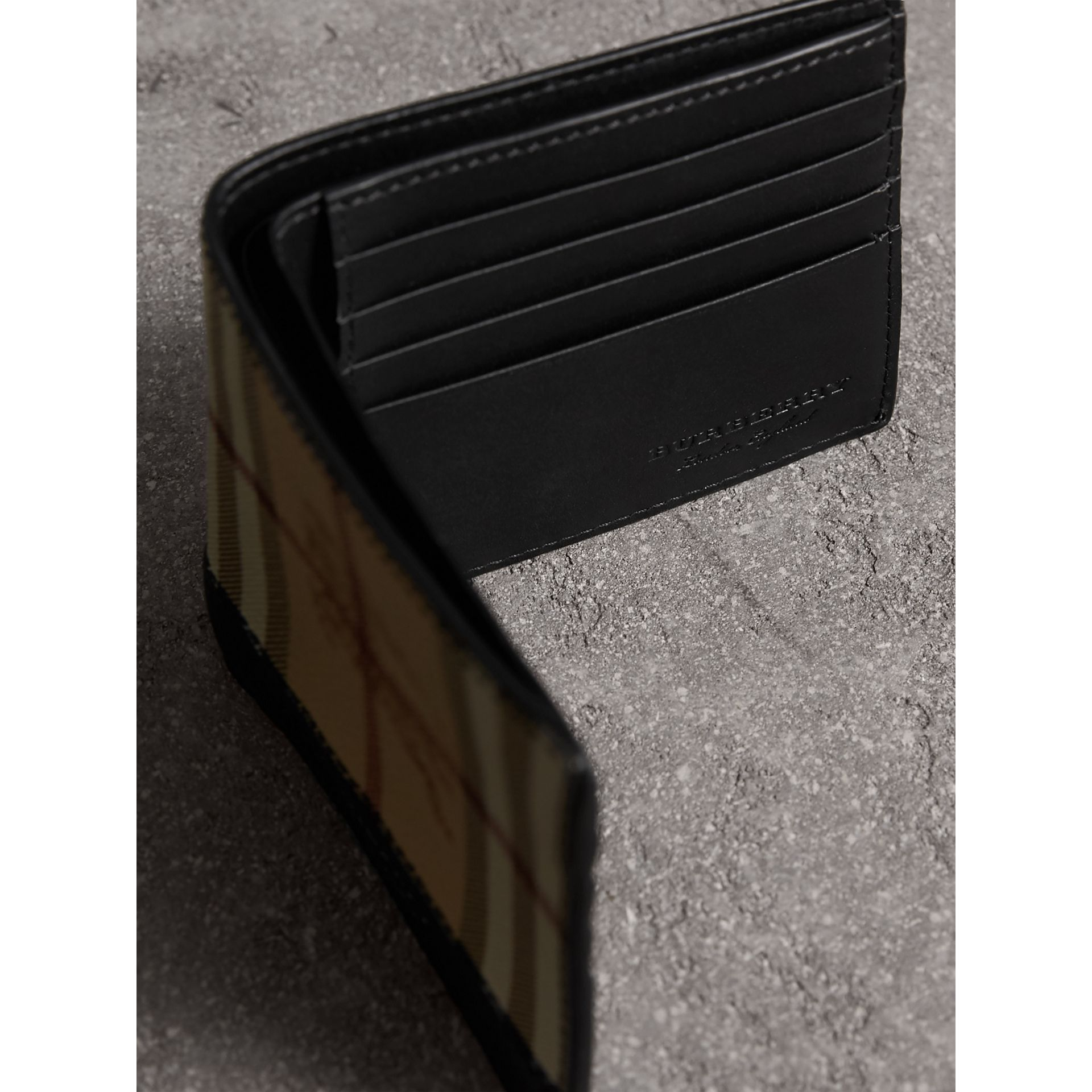 Haymarket Check and Leather International Bifold Wallet in Black - Men | Burberry Australia - gallery image 3
