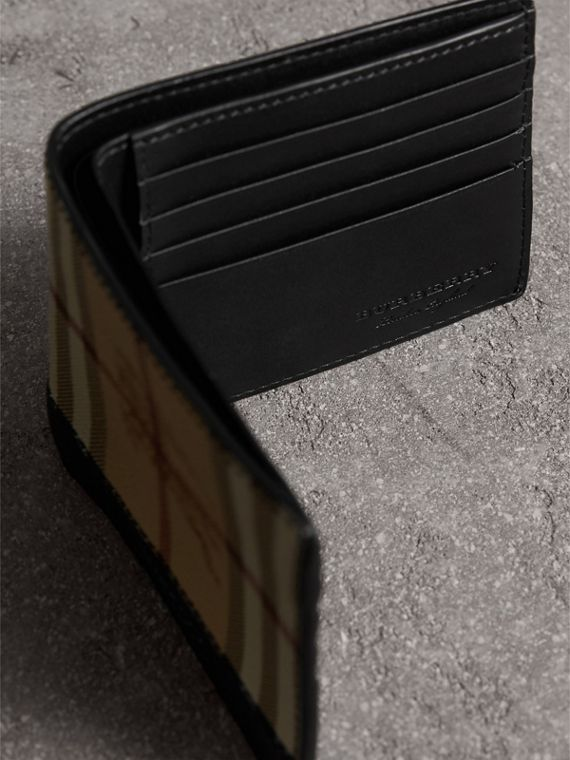 Haymarket Check and Leather International Bifold Wallet in Black - Men | Burberry Singapore - cell image 3