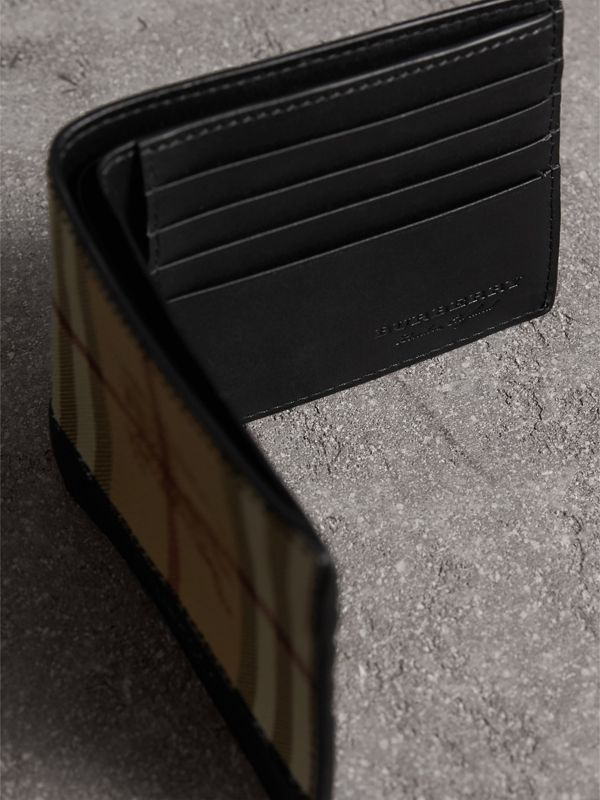 Haymarket Check and Leather International Bifold Wallet in Black - Men | Burberry Australia - cell image 3
