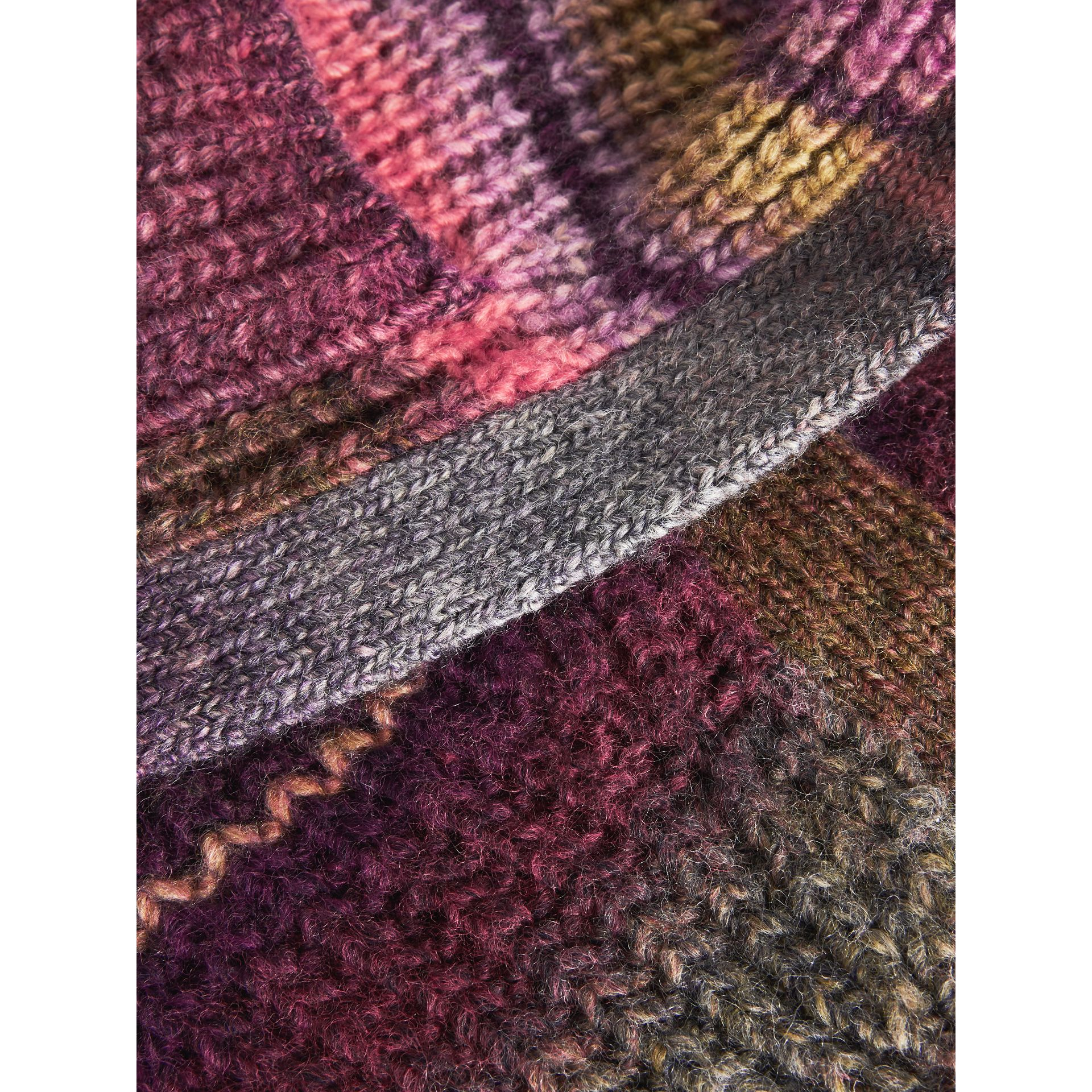 Rib Knit Wool Blend Cardigan in Multicolour | Burberry - gallery image 1