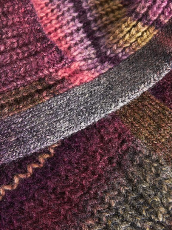 Rib Knit Wool Blend Cardigan in Multicolour | Burberry - cell image 1
