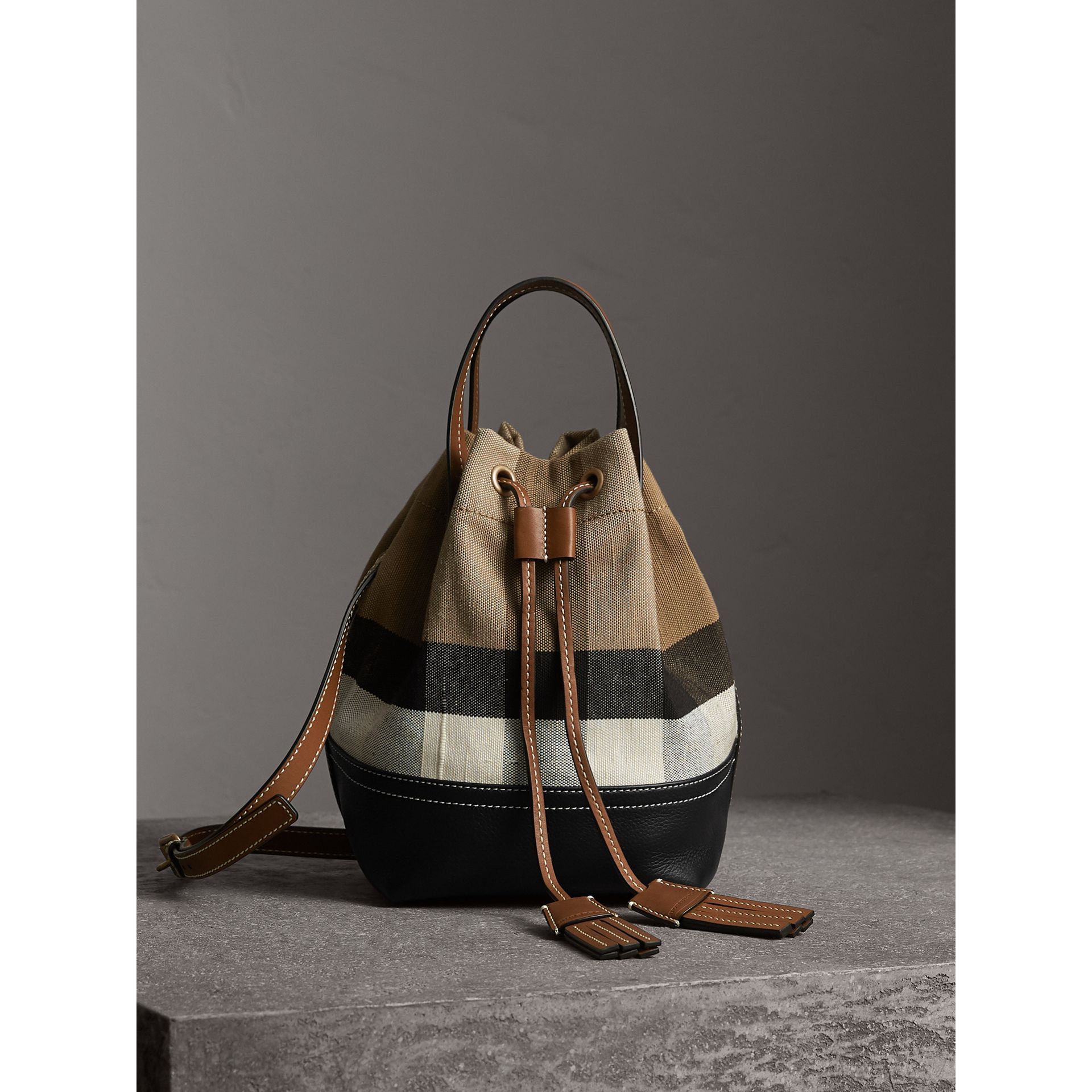 Small Canvas Check and Leather Bucket Bag in Tan - Women | Burberry - gallery image 1