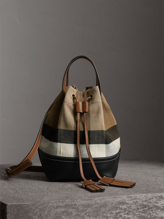 Small Canvas Check and Leather Bucket Bag in Tan