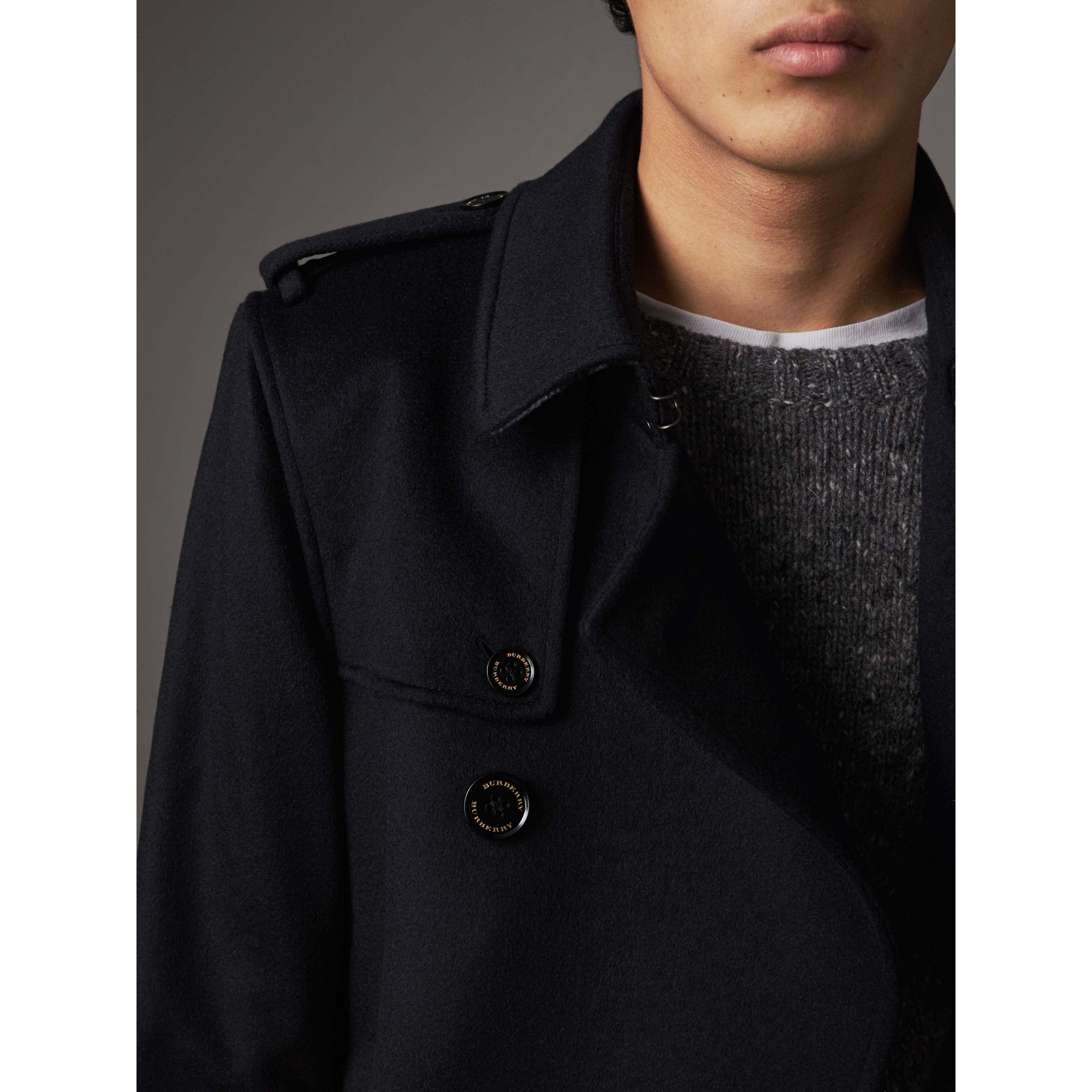 Cashmere Trench Coat in Navy - Men | Burberry - gallery image 5