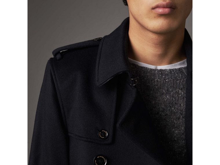 Cashmere Trench Coat in Navy - Men | Burberry - cell image 4