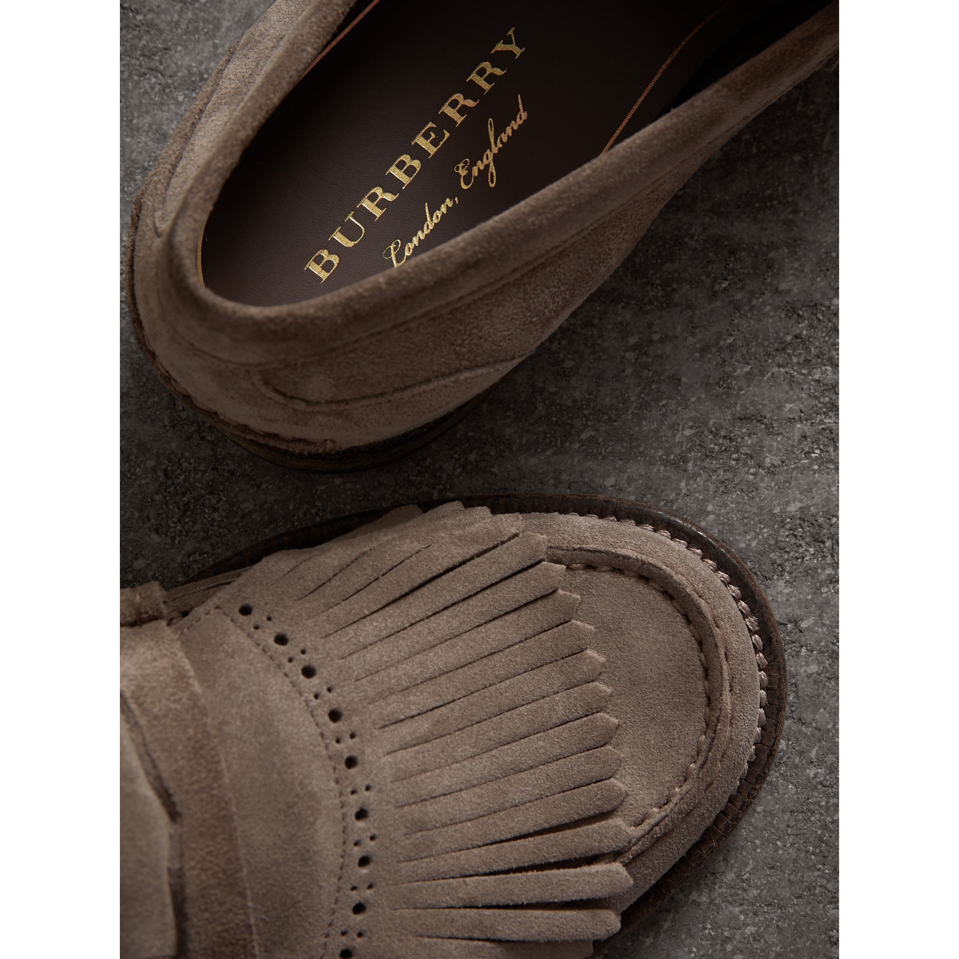 Kiltie Fringe Suede Loafers in Steel Grey - Men | Burberry - gallery image 1