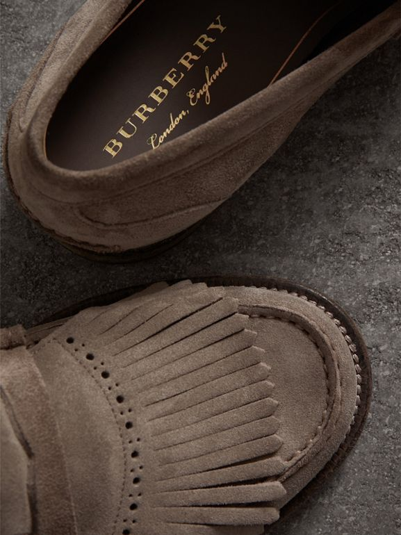 Kiltie Fringe Suede Loafers in Steel Grey - Men | Burberry - cell image 1