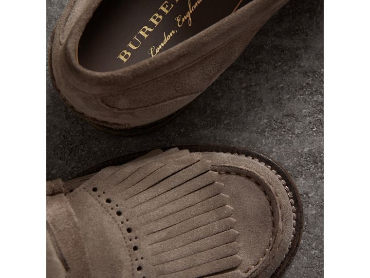 Kiltie Fringe Suede Loafers in Steel Grey - Men | Burberry Singapore - cell image 1