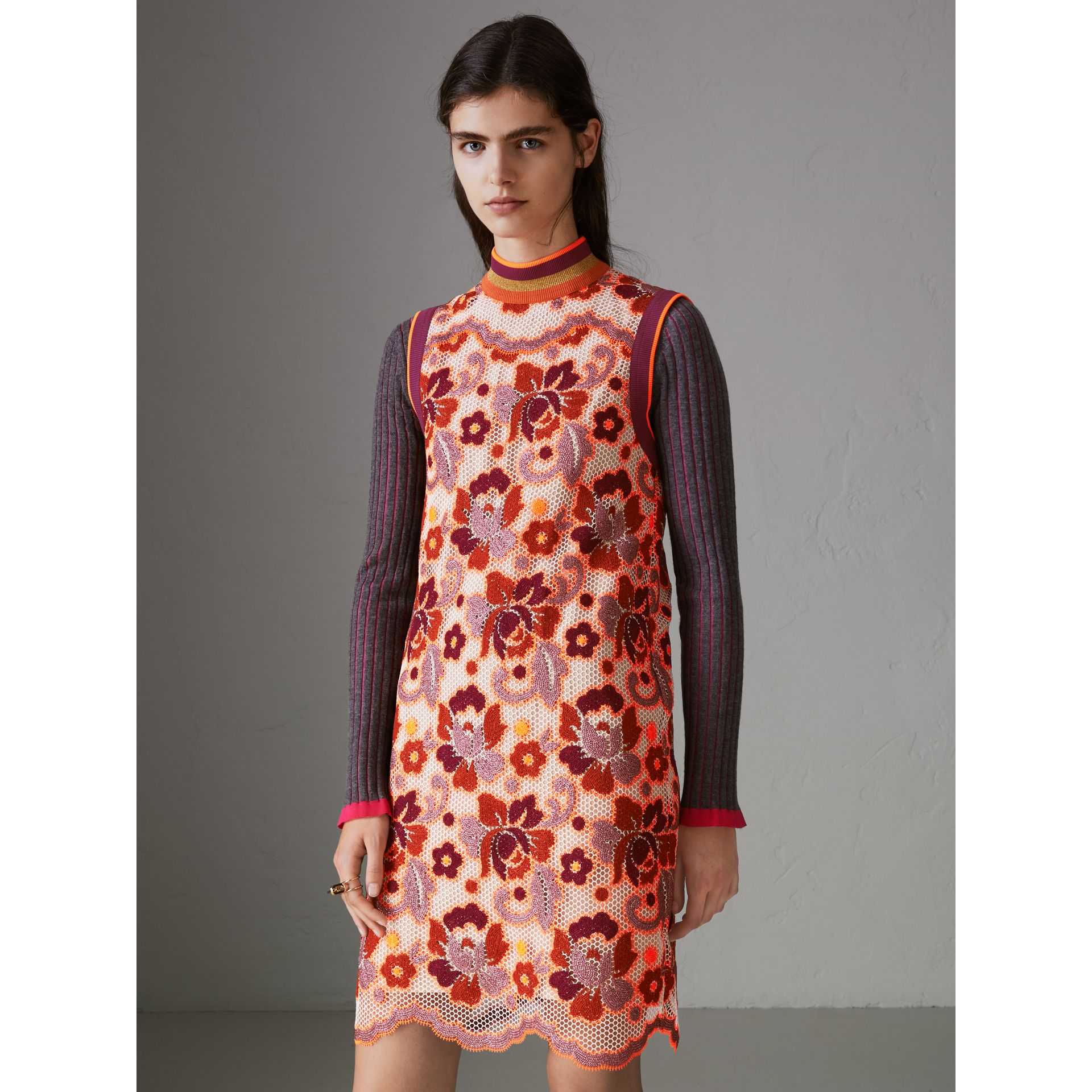 Floral Crochet Shift Dress in Bright Orange - Women | Burberry United Kingdom - gallery image 5