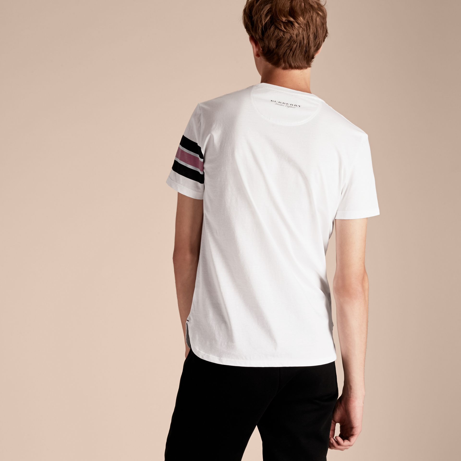 White Cotton T-shirt with Regimental Detail - gallery image 3
