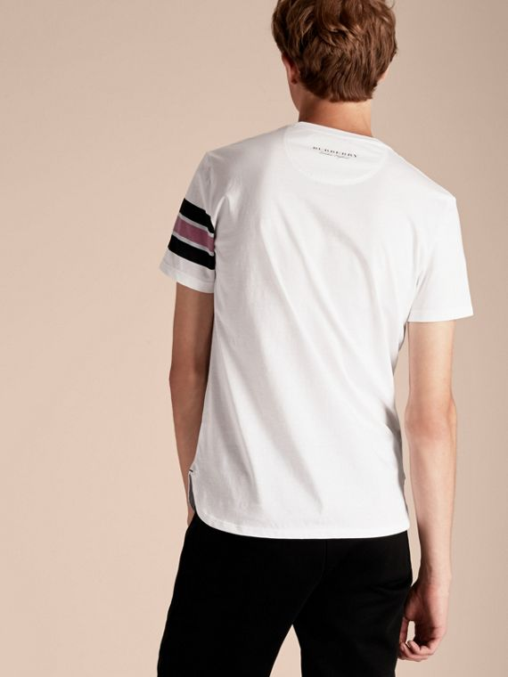 White Cotton T-shirt with Regimental Detail - cell image 2