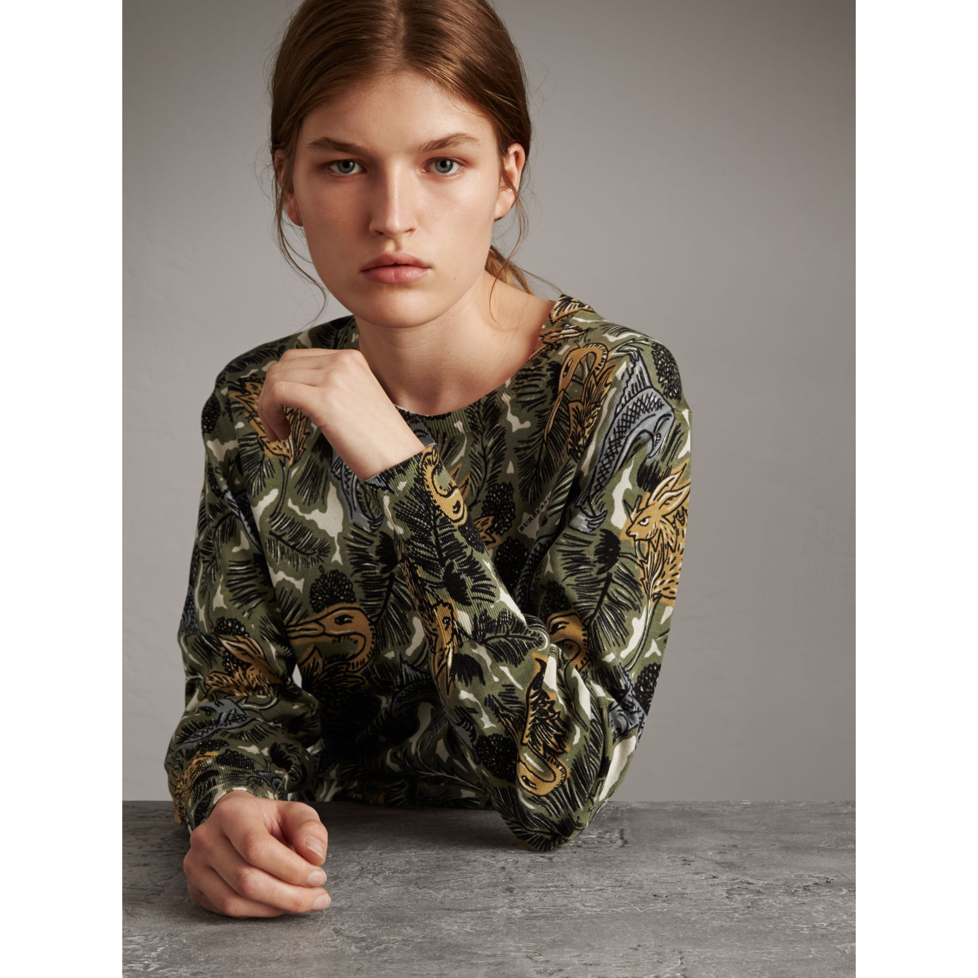 Beasts Print Cotton Sweater in Sage Green - Women | Burberry - gallery image 1