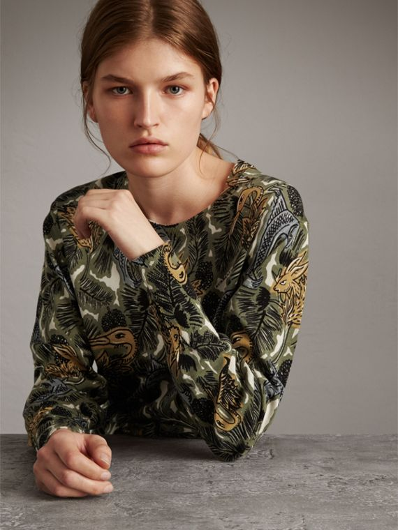 Beasts Print Cotton Sweater in Sage Green - Women | Burberry