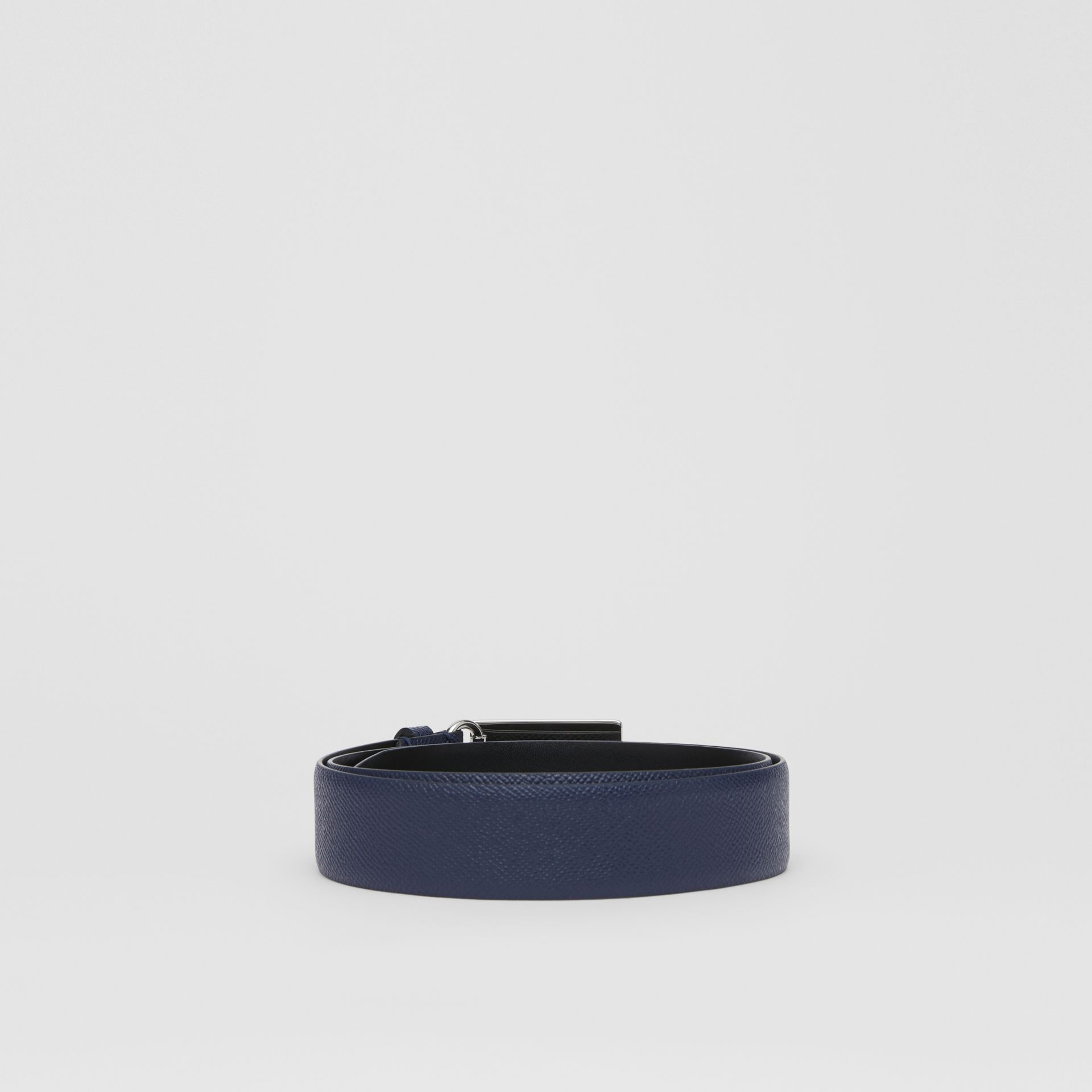 Plaque Buckle Grainy Leather Belt in Navy - Men | Burberry - gallery image 4