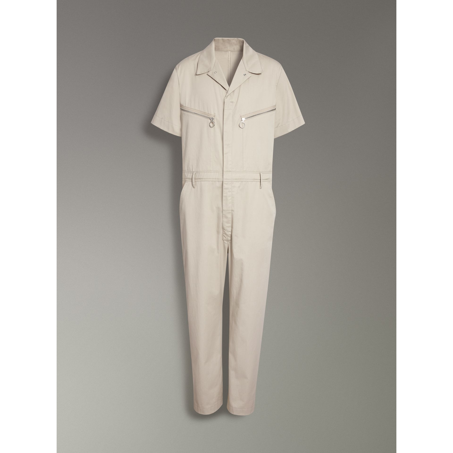 Short-sleeve Cotton Overalls in Stone - Men | Burberry - gallery image 3