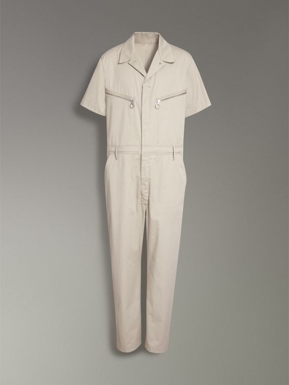 Short-sleeve Cotton Overalls in Stone - Men   Burberry United States - cell image 3