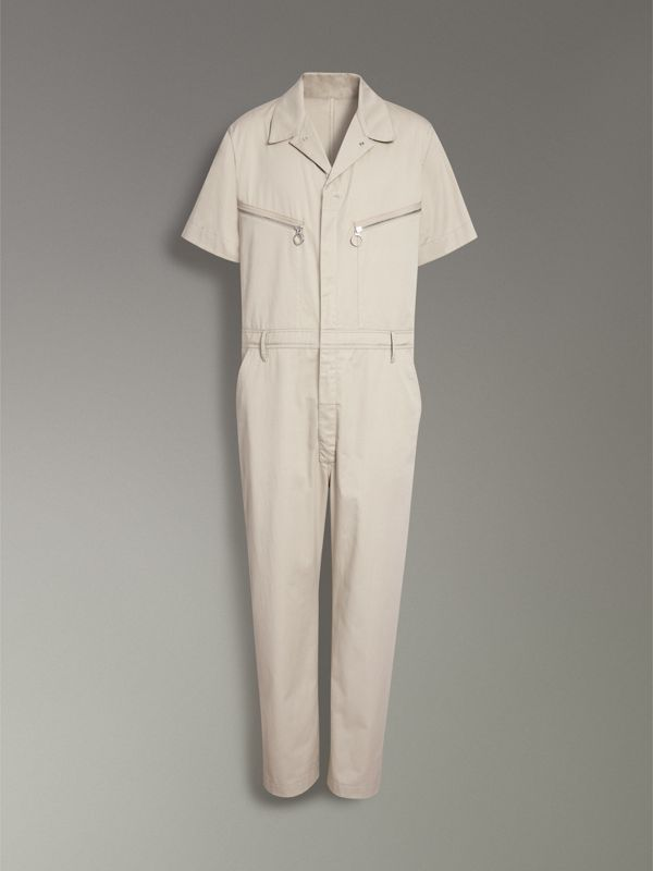 Short-sleeve Cotton Overalls in Stone - Men | Burberry - cell image 3
