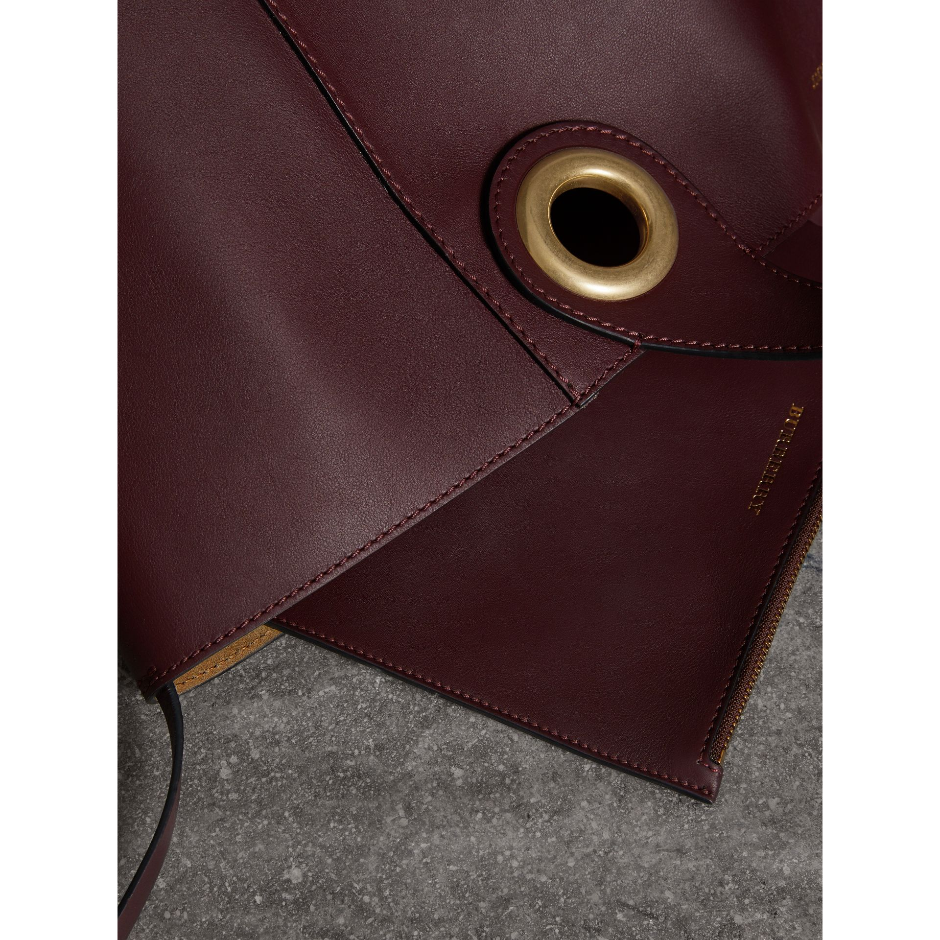 The Large Leather Grommet Detail Tote in Deep Claret | Burberry - gallery image 5