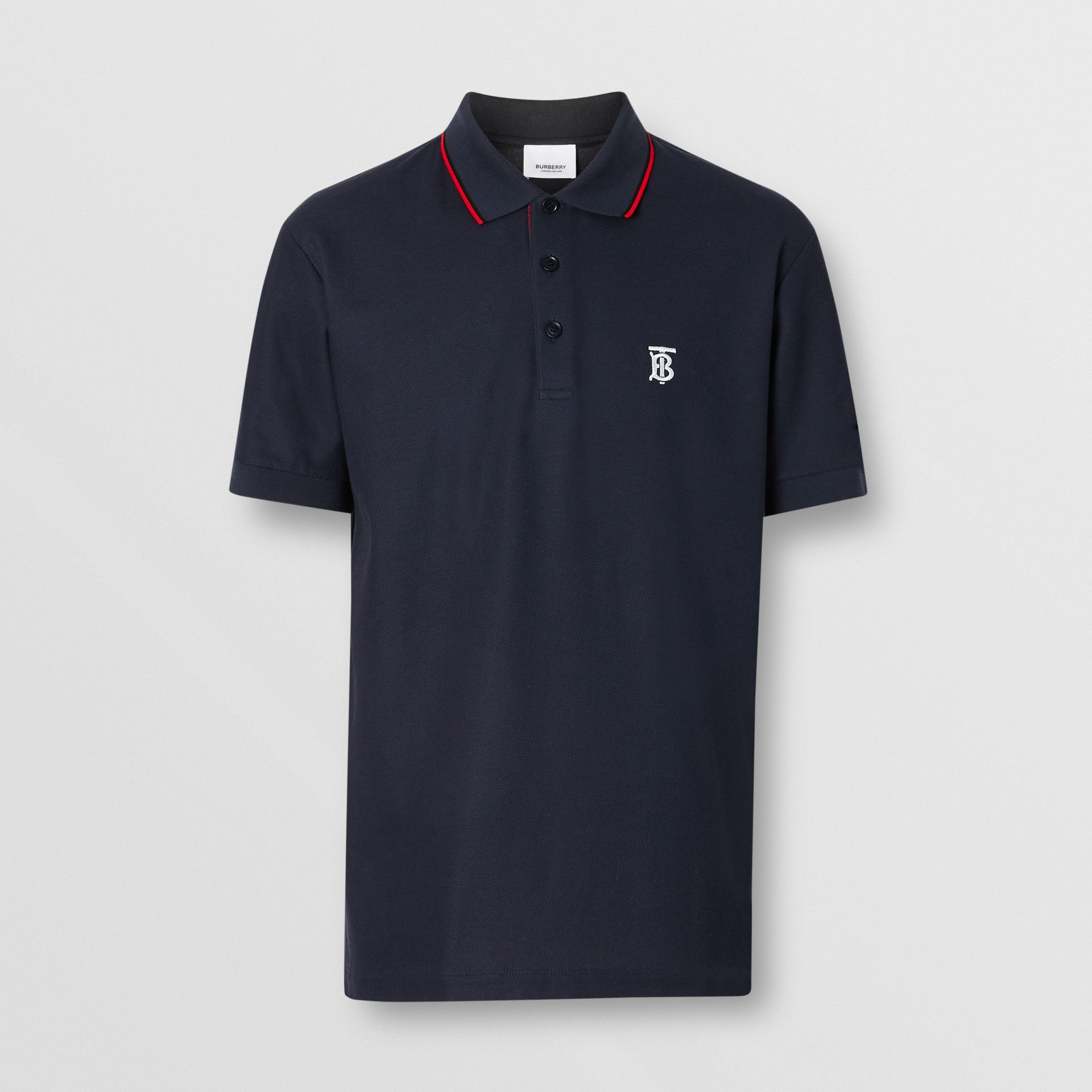 Icon Stripe Placket Cotton Piqué Polo Shirt in Navy - Men | Burberry - gallery image 3