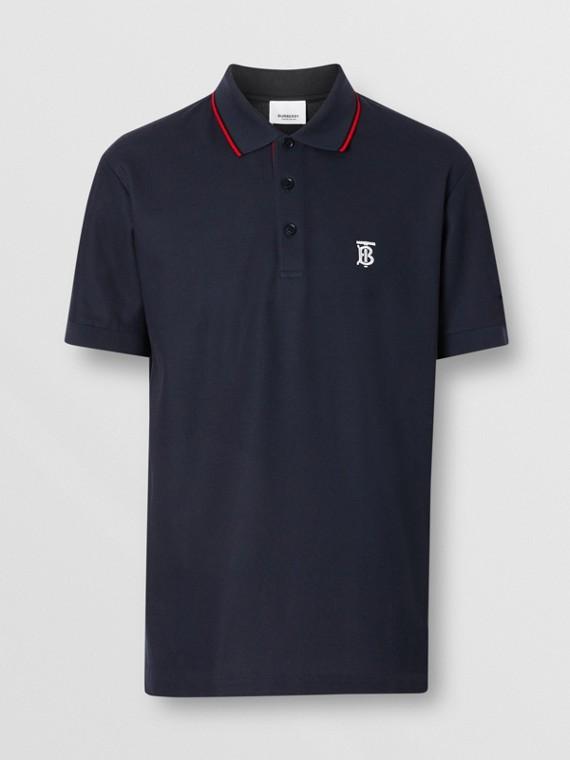 Icon Stripe Placket Cotton Piqué Polo Shirt in Navy