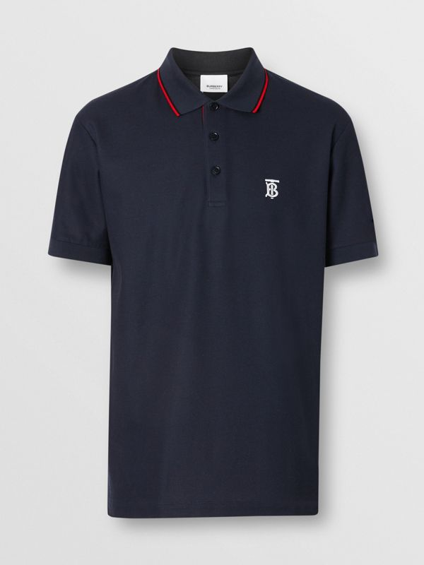 Icon Stripe Placket Cotton Piqué Polo Shirt in Navy - Men | Burberry - cell image 3