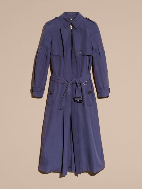 Oversize Silk Trench Coat with Puff Sleeves in Navy - Women | Burberry - cell image 3