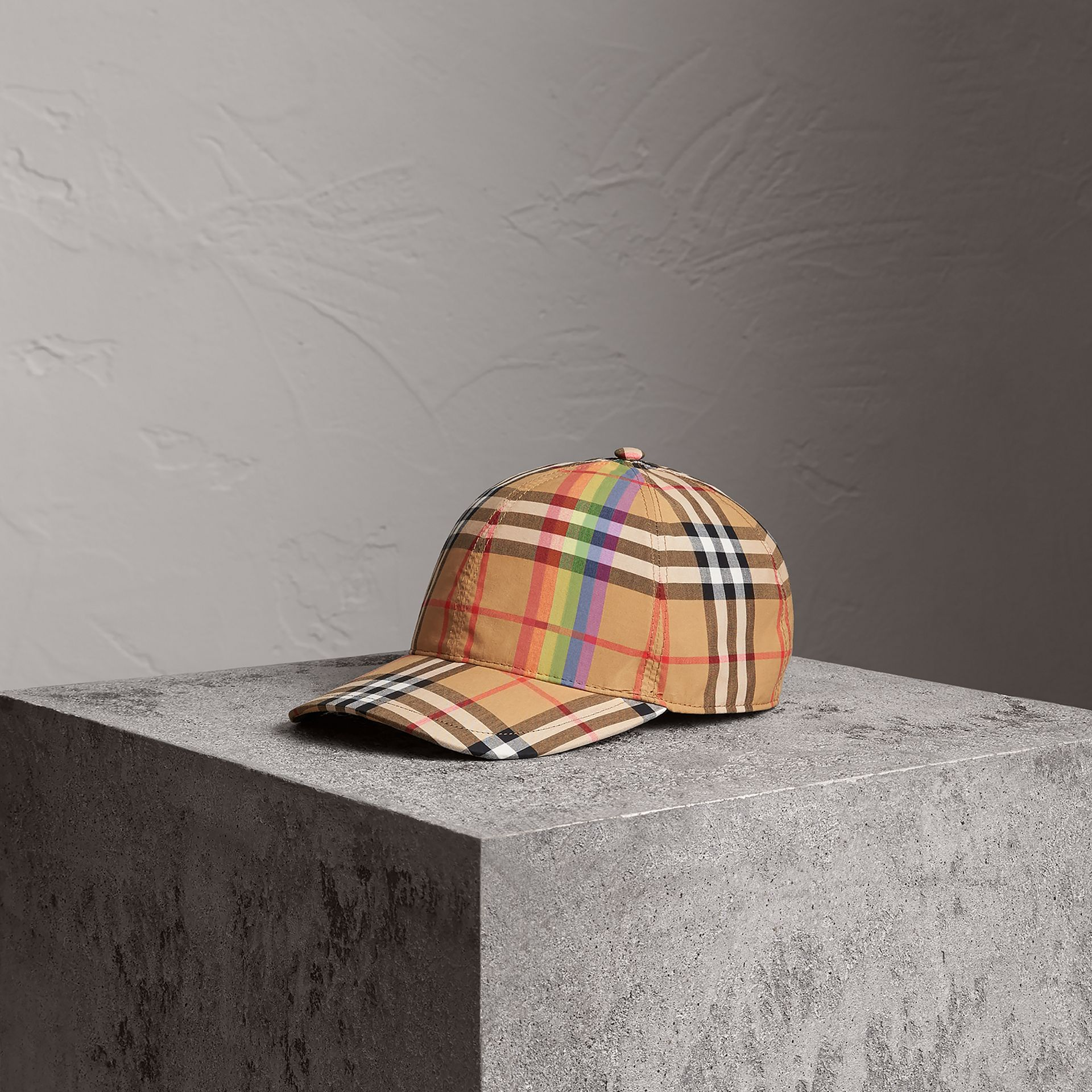 Rainbow Vintage Check Baseball Cap in Antique Yellow/rainbow | Burberry Australia - gallery image 0