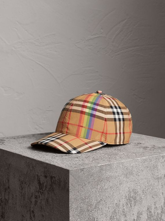 Rainbow Vintage Check Baseball Cap in Antique Yellow/rainbow