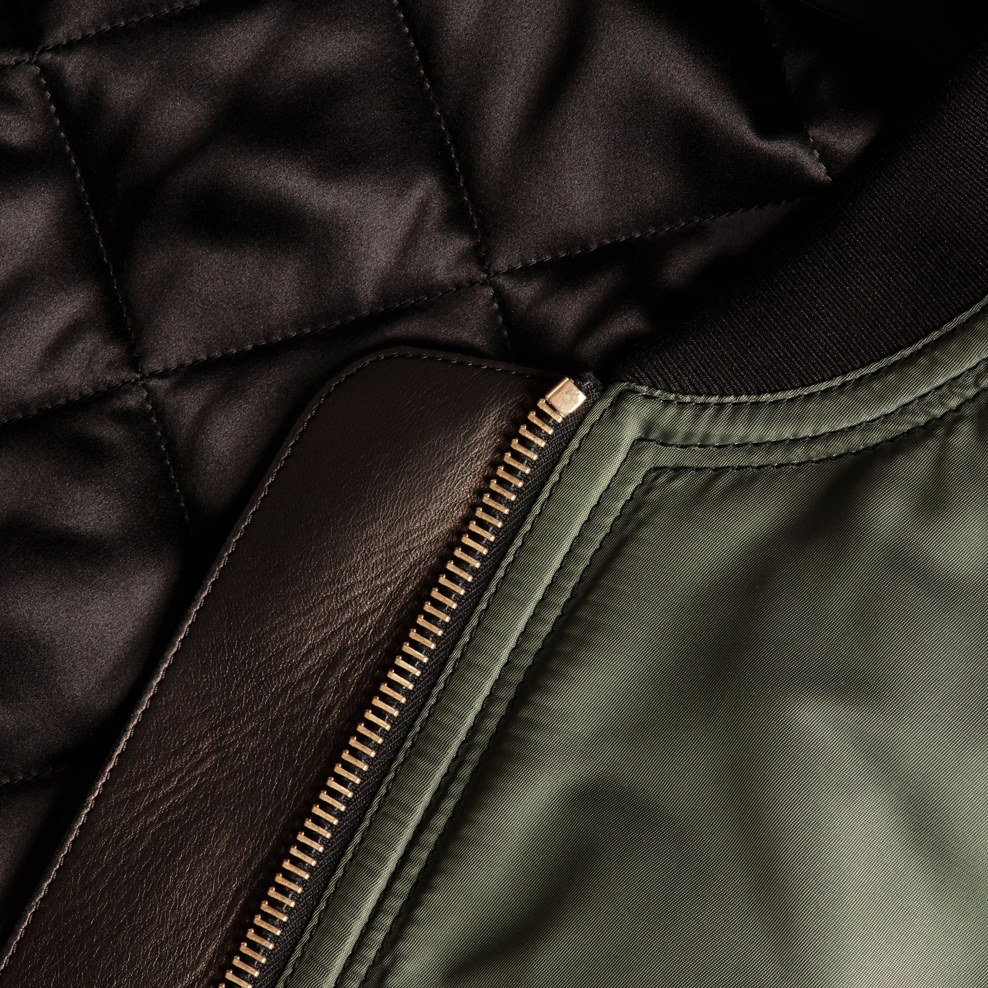 Khaki green Oversize Water-repellent Bomber Jacket - gallery image 2