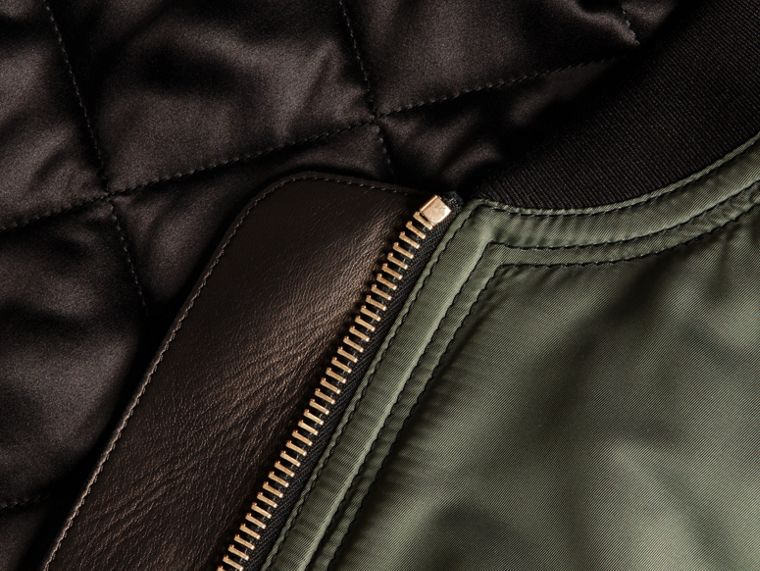 Khaki green Oversize Water-repellent Bomber Jacket - cell image 1