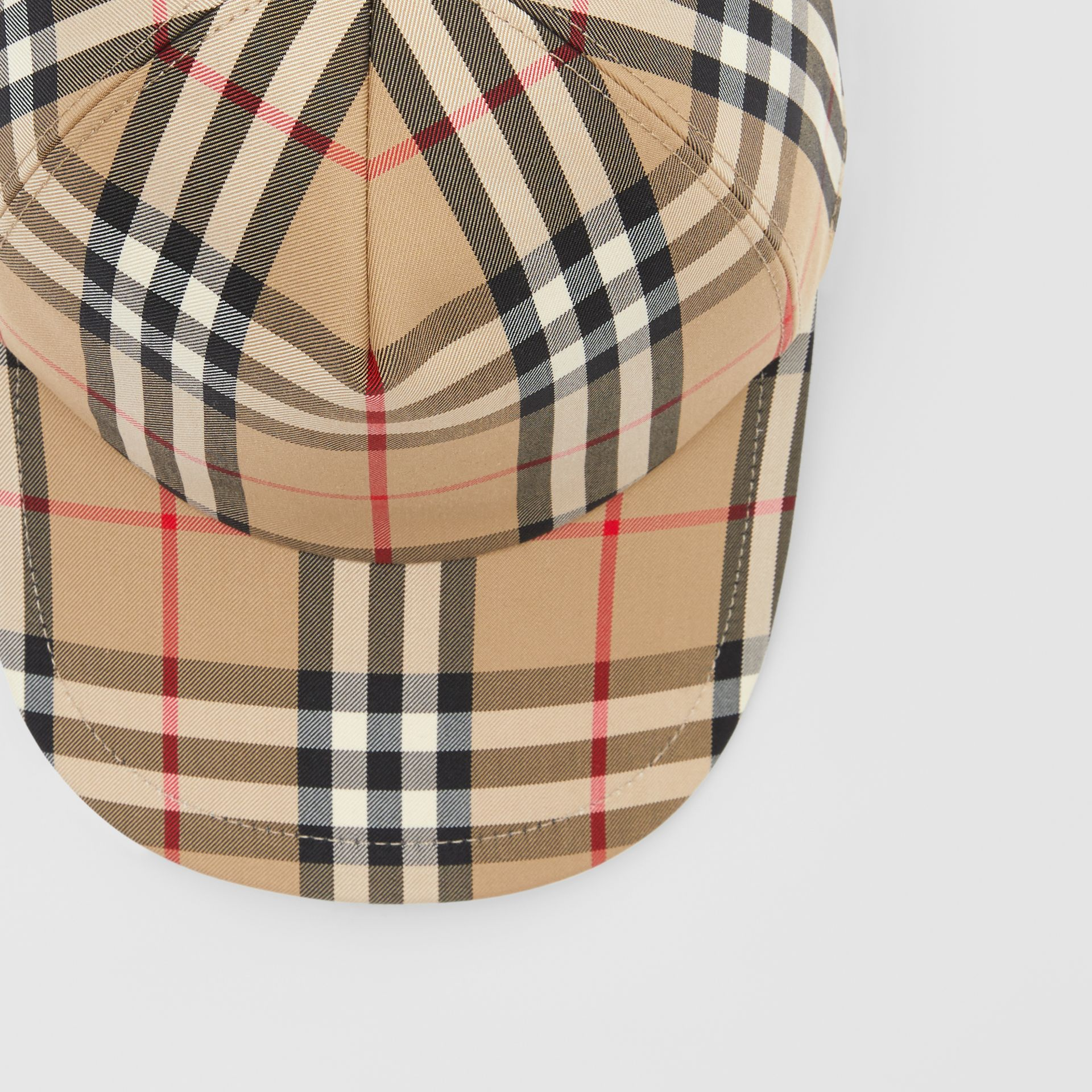 Logo Appliqué Vintage Check Baseball Cap in Archive Beige | Burberry United Kingdom - gallery image 1