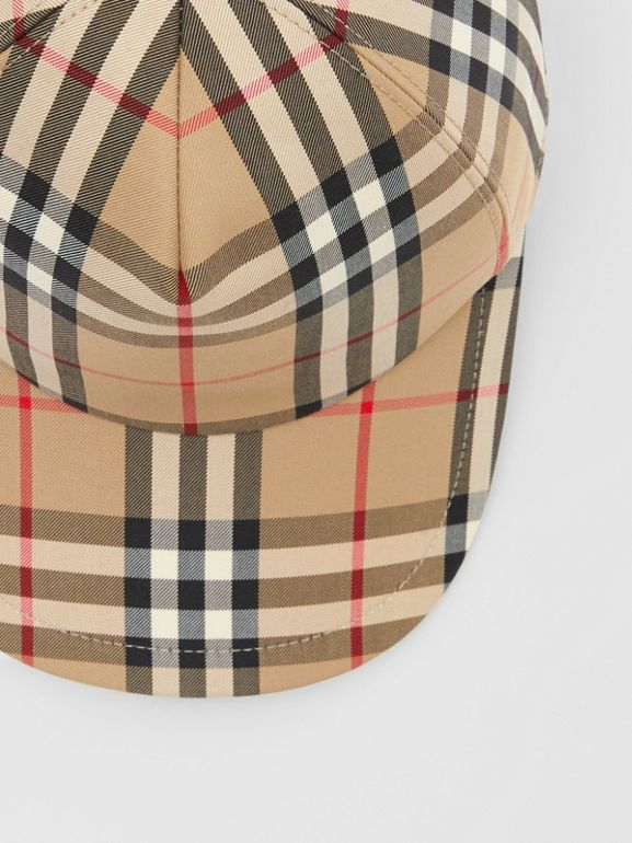 Logo Appliqué Vintage Check Baseball Cap in Archive Beige | Burberry United Kingdom - cell image 1