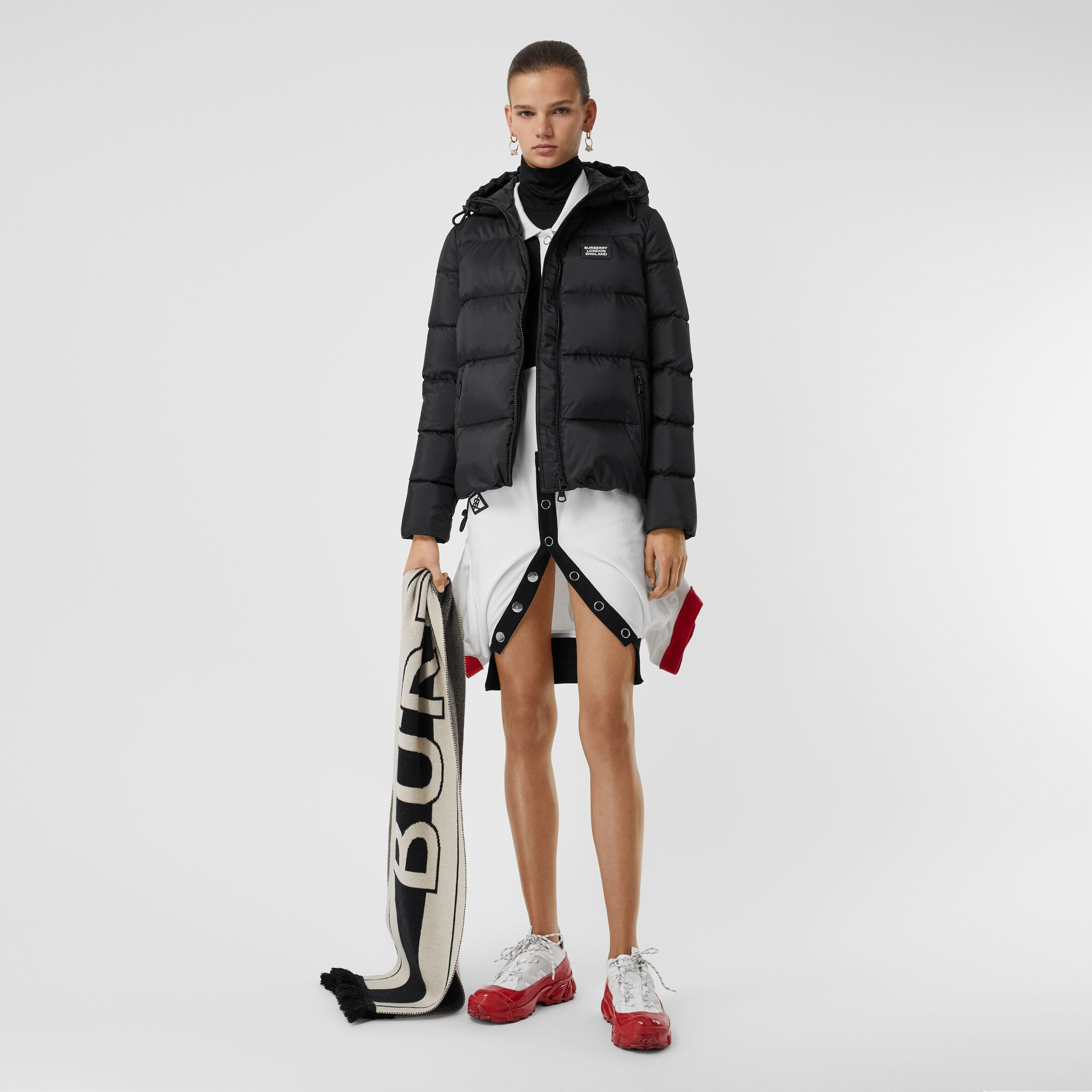Monogram Stripe Print Hooded Puffer Jacket in Black - Women | Burberry - 1