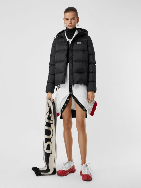 Monogram Stripe Print Hooded Puffer Jacket in Black
