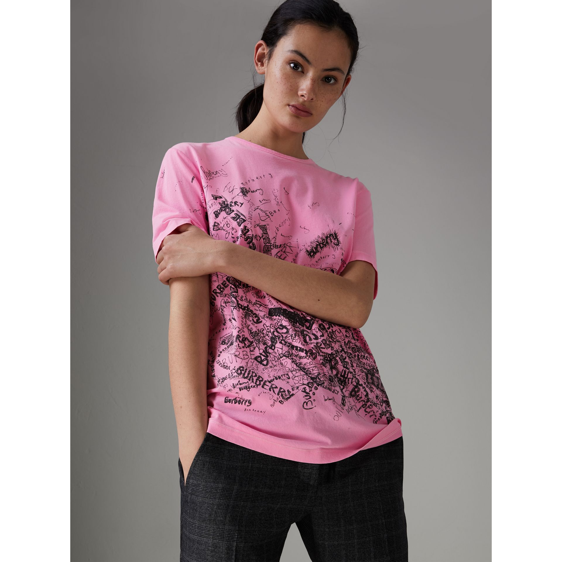 Doodle Print Cotton T-shirt in Bright Rose Pink - Women | Burberry - gallery image 0